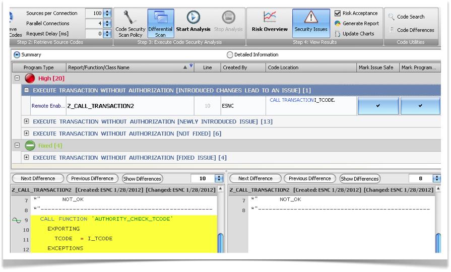 ESNC Code Security for SAP ABAP - Security Analysis Comparison
